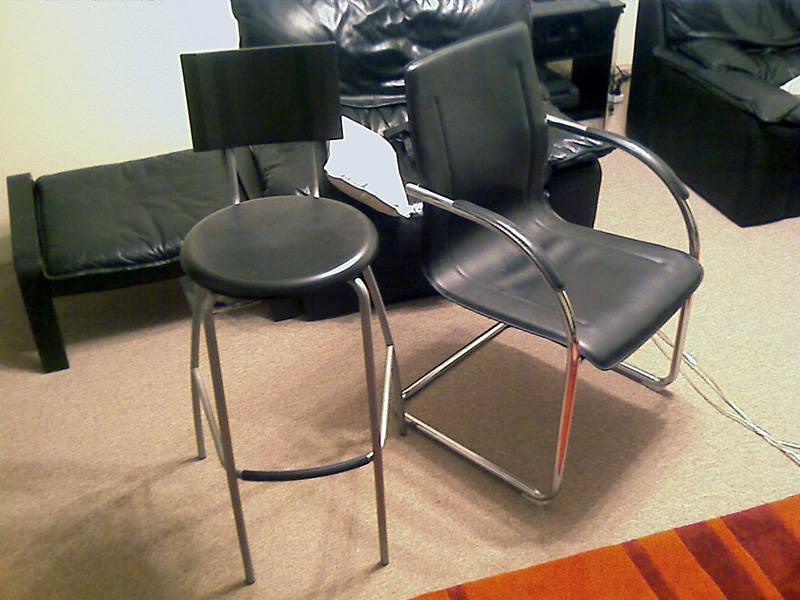 x2 ikea bar stools x2 leather 39 waiting room 39 chairs. Black Bedroom Furniture Sets. Home Design Ideas